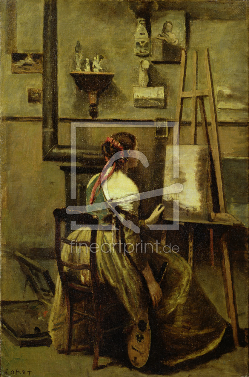 Bild-Nr.: 31000266 The Studio of Corot, or Young woman seated before an Easel, 1868-70 erstellt von Corot, Jean Baptiste Camille