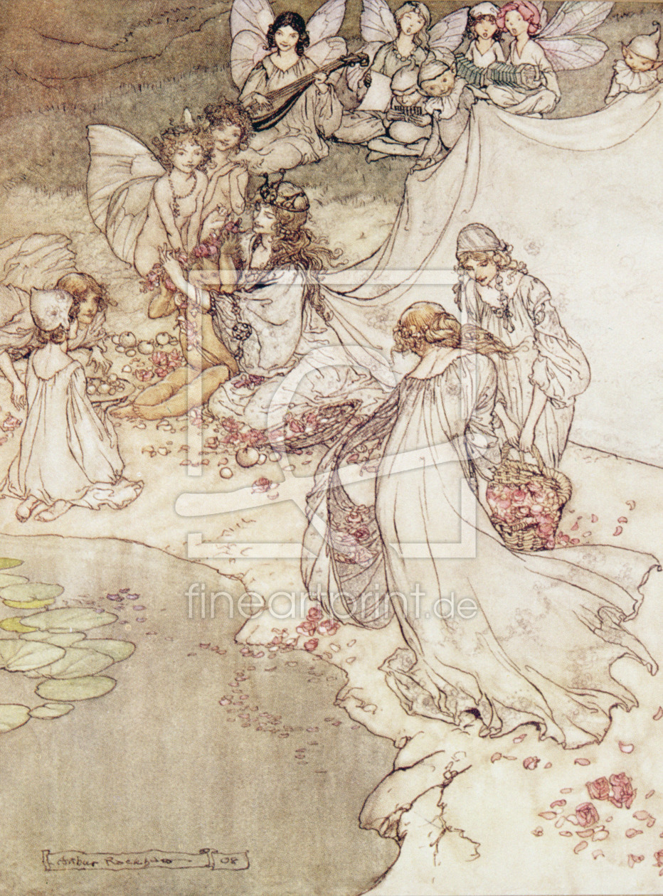 Bild-Nr.: 31001454 Illustration for a Fairy Tale, Fairy Queen Covering a Child with Blossom erstellt von Rackham, Arthur