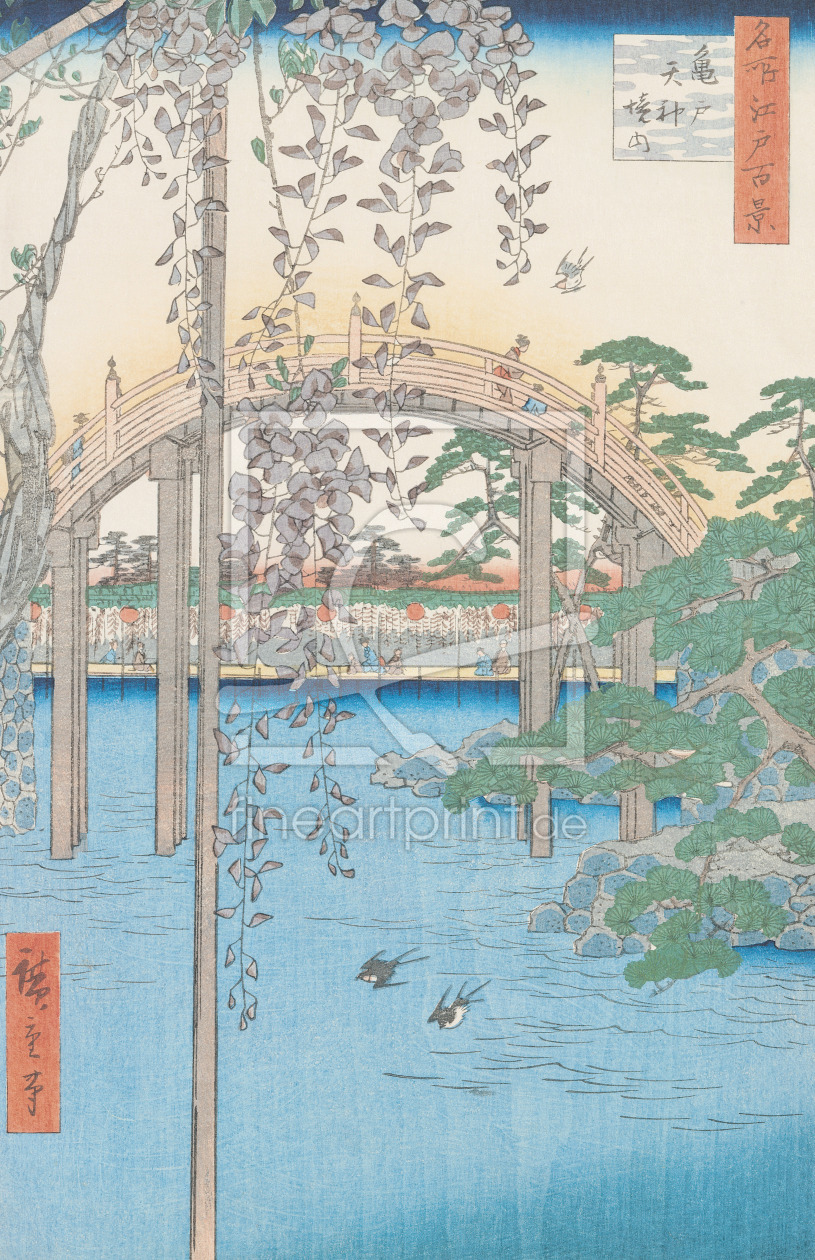 Bild-Nr.: 31002622 The Bridge with Wisteria or Kameido Tenjin Keidai, plate 57 from '100 Views of E erstellt von Hiroshige, Ando