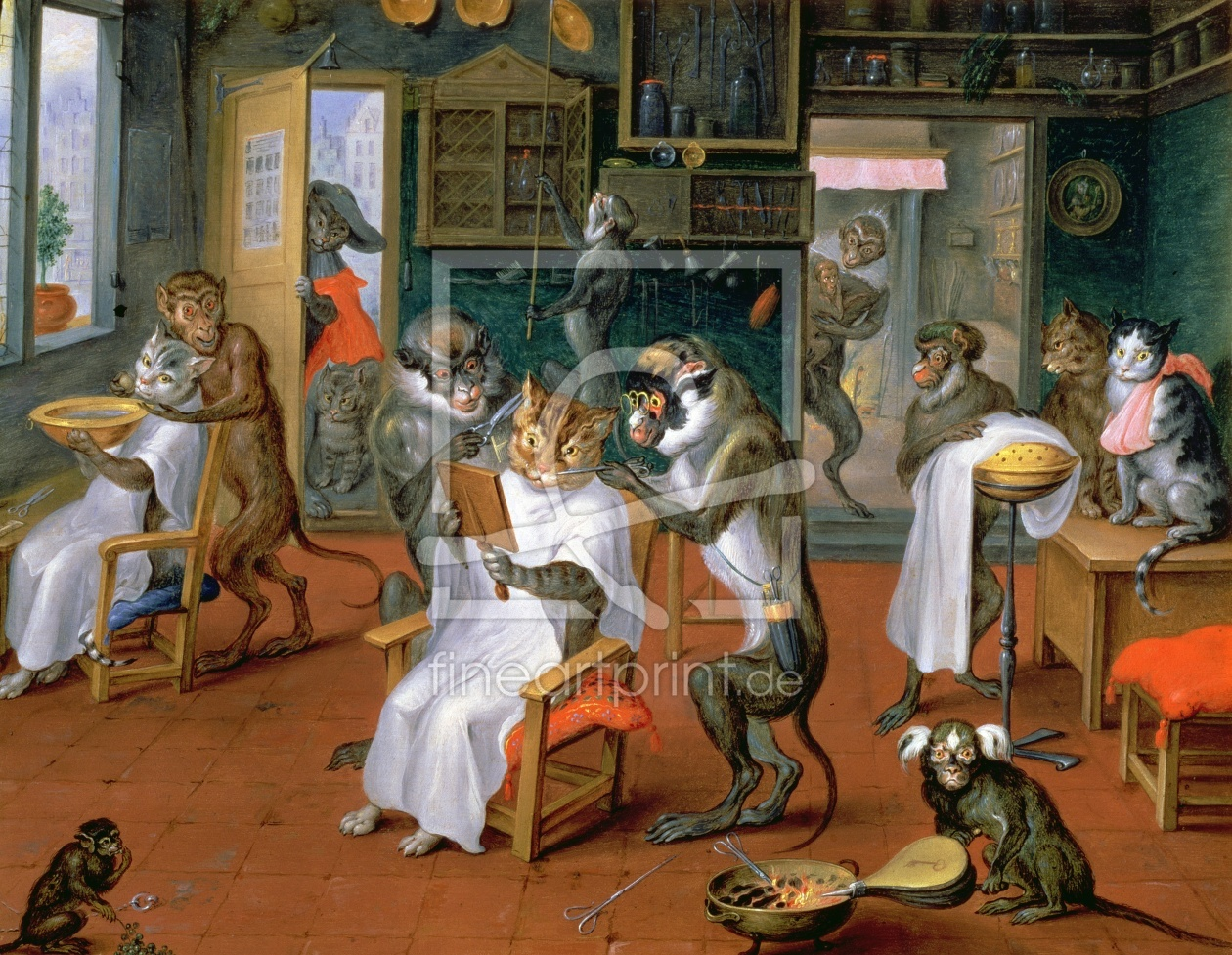 Bild-Nr.: 31002683 Barber's shop with Monkeys and Cats erstellt von Teniers, Abraham