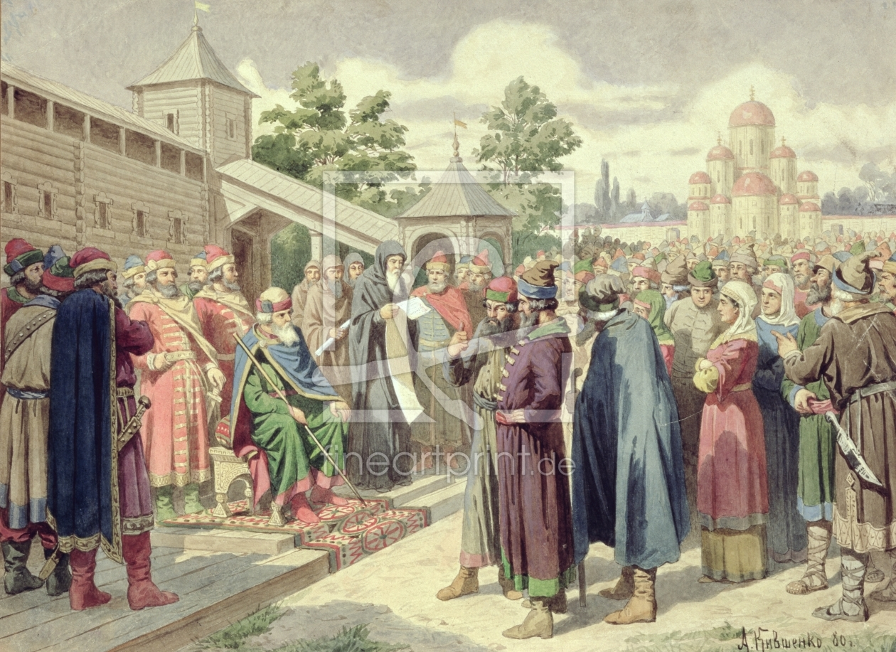 Bild-Nr.: 31002823 Reading of the Code in the Presence of Grand Duke Jaroslav of Novgorod, 1880 erstellt von Kivshenko, Aleksei Danilovich