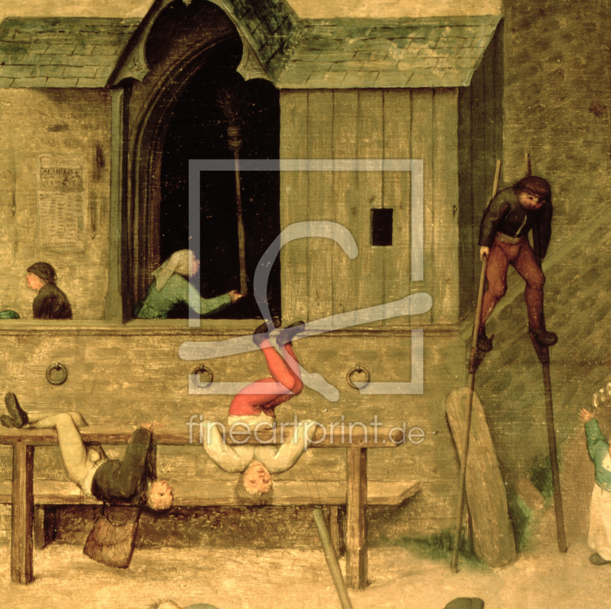 Bild-Nr.: 31002831 Children's Games : detail of a boy on stilts and children playing in the stocks, erstellt von Bruegel, Pieter the Elder