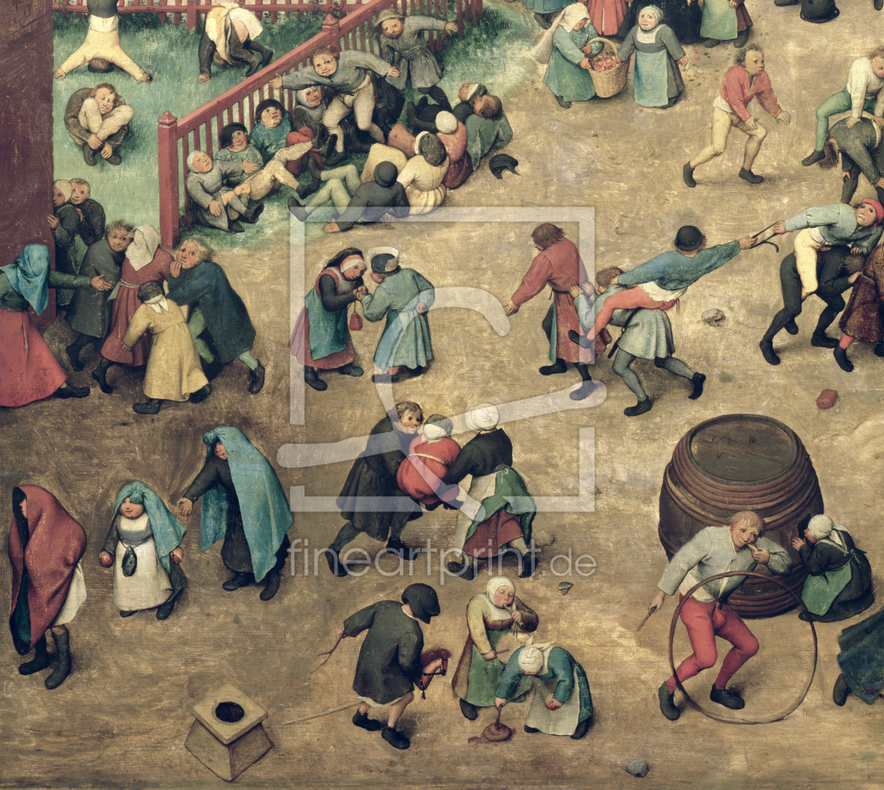 Bild-Nr.: 31002836 Children's Games : detail of left-hand section showing children bowling hoops, d erstellt von Bruegel, Pieter the Elder